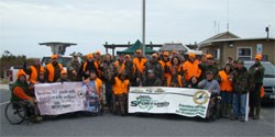 Hunters who participated in the bow-only Developed Area Sika Deer Hunt for Persons with Disabilities event in January, 2012. 37kb
