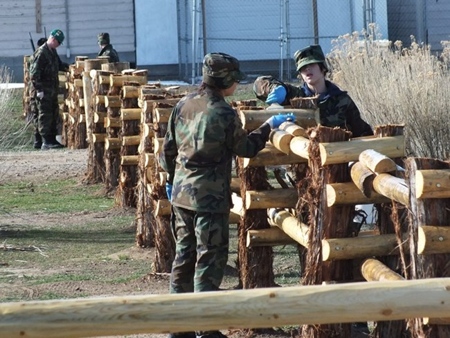Cadets Working on Fence