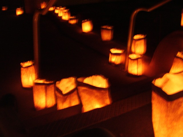 Luminarias on the steps of the Visitor Center
