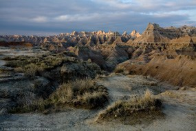 view of the rugged Badlands landscape by 2007 Artist in Residence Rikk Flohr