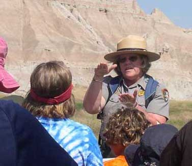 Teacher Ranger Cindy Holub leads a school program.