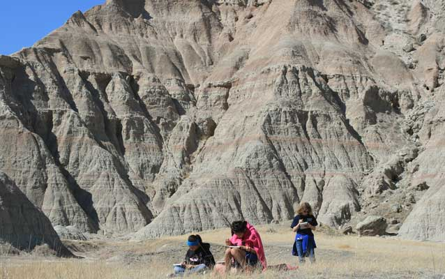 Interior School students in Badlands National Park