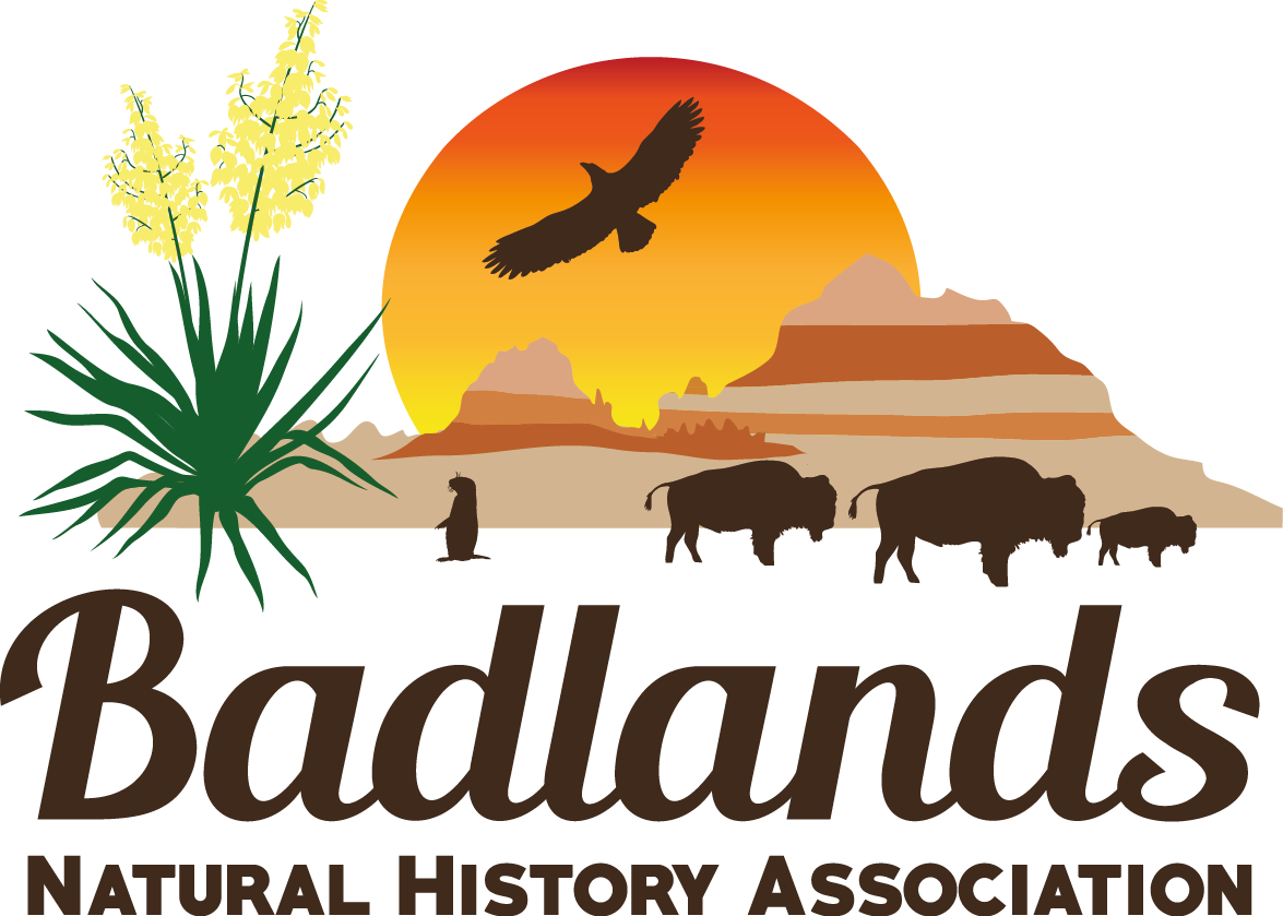 Colorful logo with badlands, bison, prairie dog, yucca, and eagle.