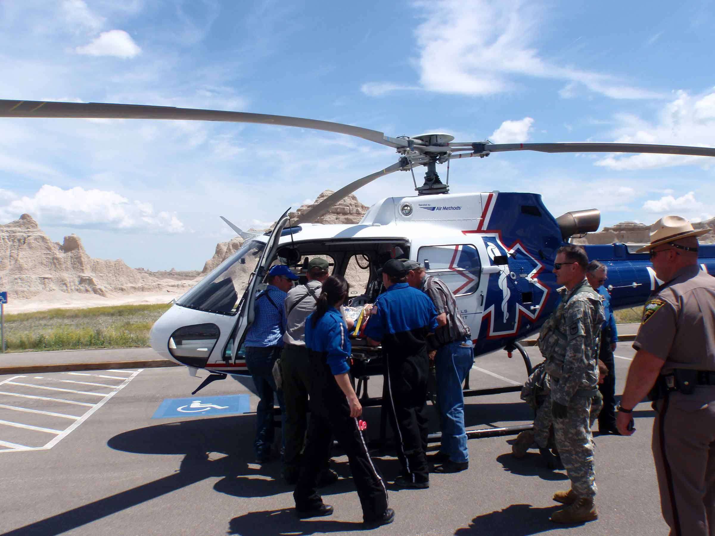 Black Hills Life Flight helicopter evacuating injured hiker to Rapid City Regional Medical Center.