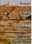 Stratigraphy of Badlands National Park with the rock formations identified