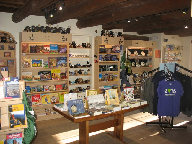 Large selection of books and Bandelier items in the WNPA Bookstore