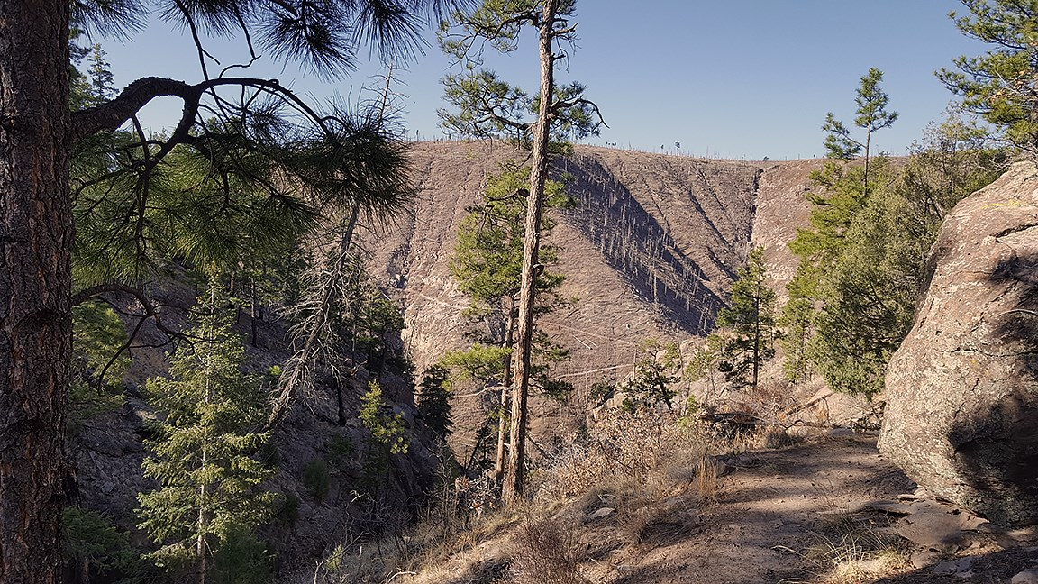 on the rim of Frijoles Canyon