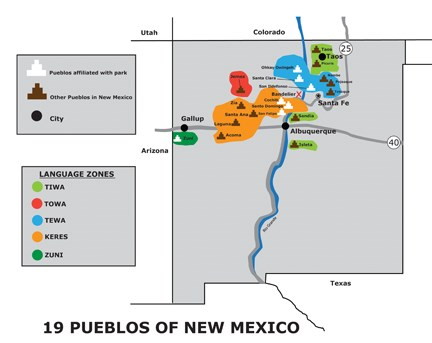 Map of current Pueblo languages