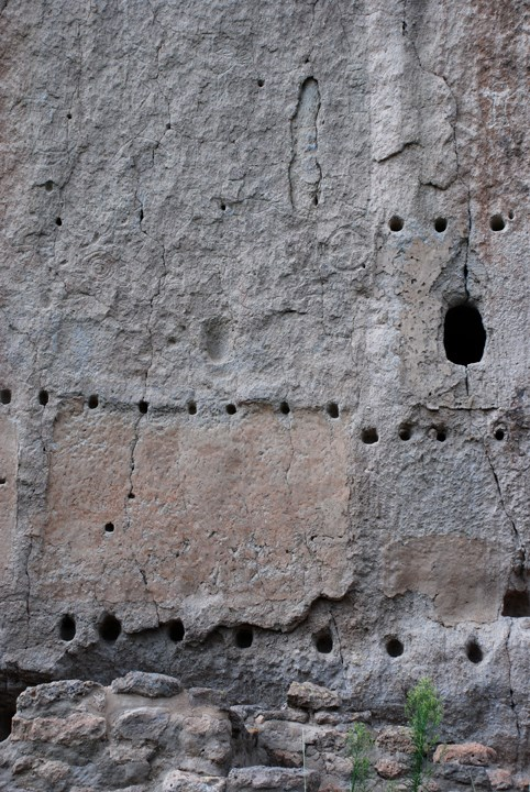 cliff wall with viga holes