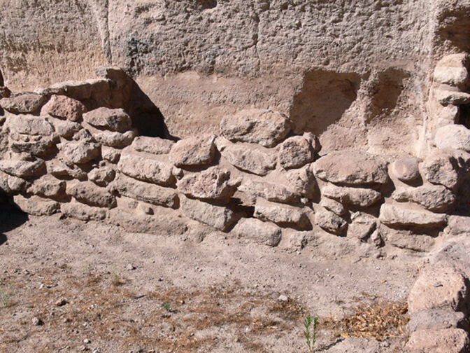 tuff block wall with mortar