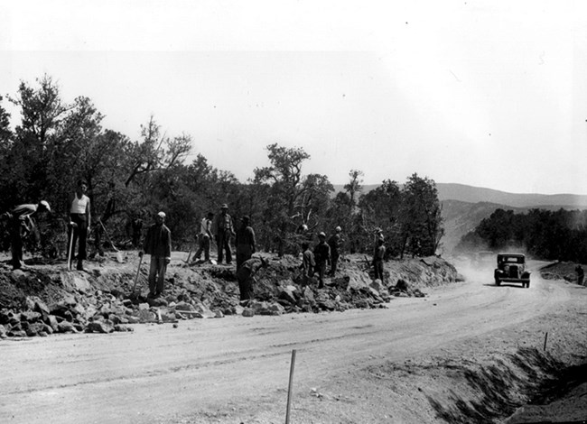 CCC constructing road into Frijoles Canyon
