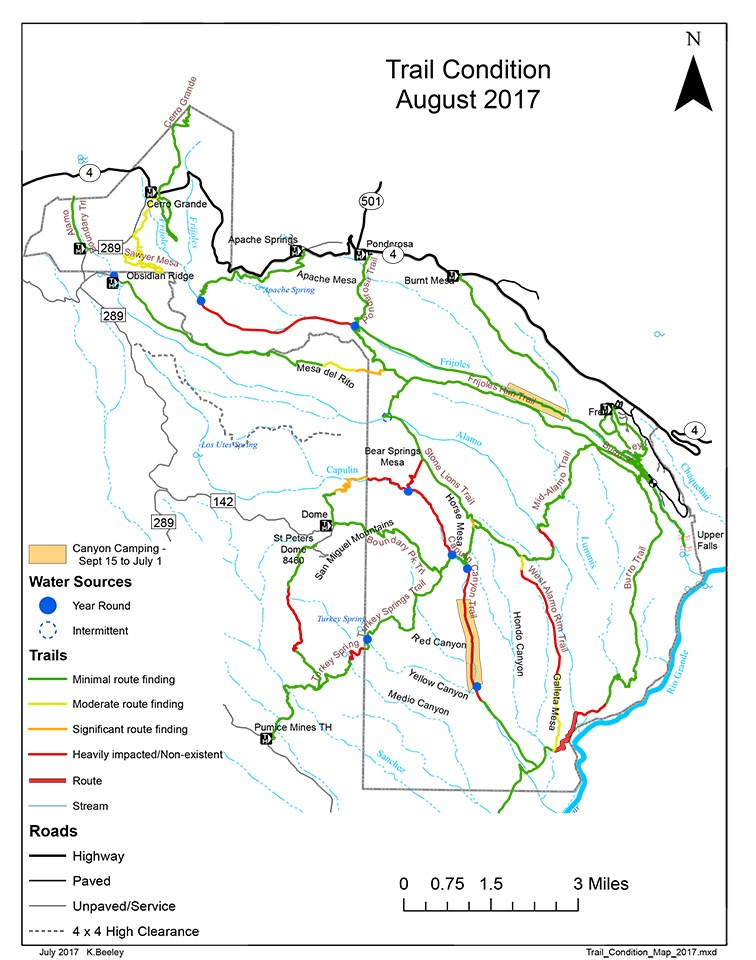 August 2017 trail condition map