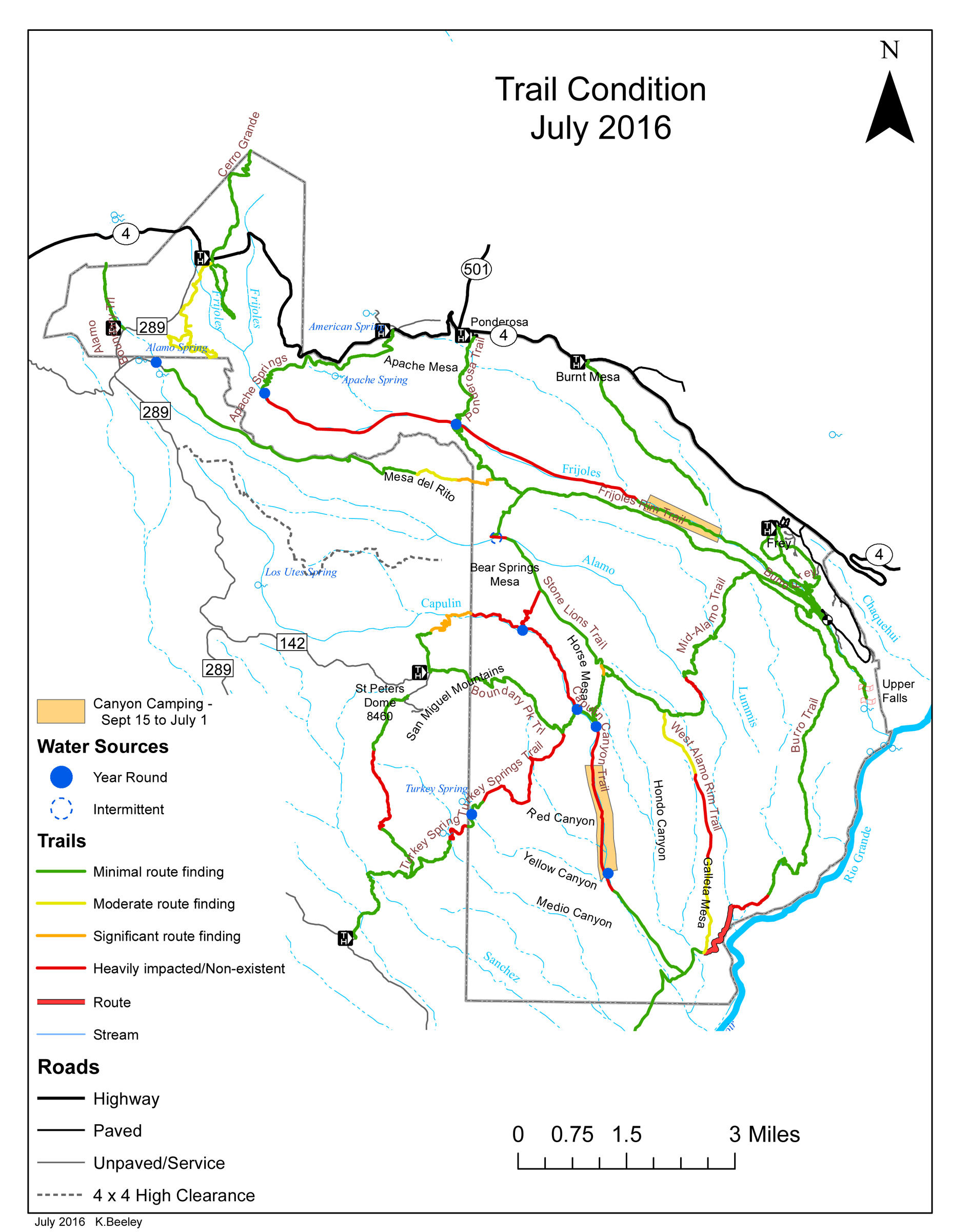 July 2016 trail conditions map