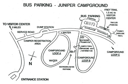 close-up map of bus parking