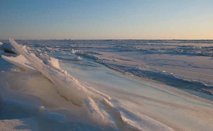Norton Sound frozen over with sea ice
