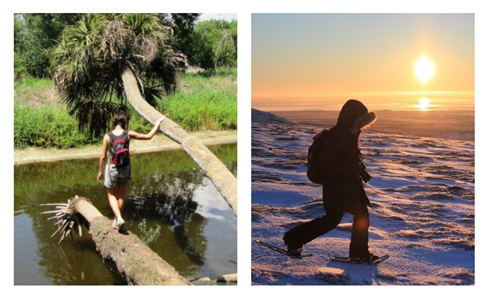 Seasonal variation across the continent! Left photo by Andrea Willingham; right photo by Katie Cullen