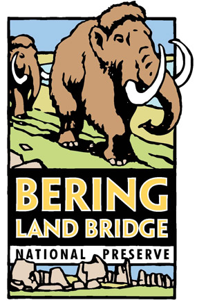 Graphic rendering of woolly mammoths walking on green landscape, with words Bering Land Bridge National Preserve in the middle, gray granite tors create a bottom border.