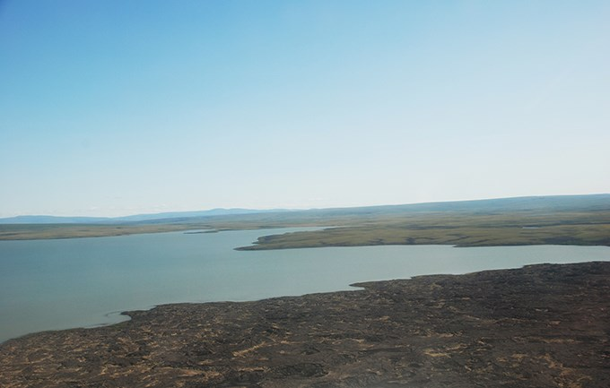 A part of Imuruk Lake next to a small portion of the Imuruk Lava Beds.