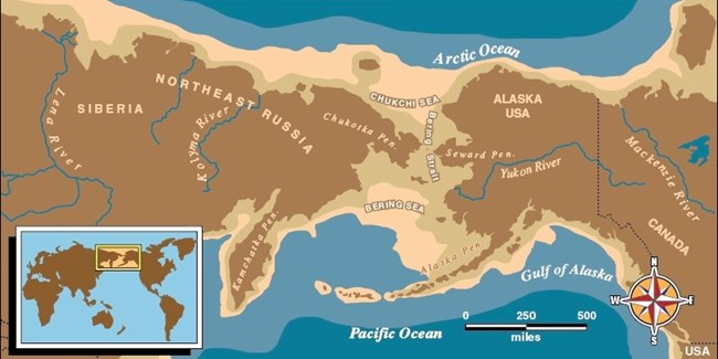 Map of East Russia and Alaska with an outline of Beringia.
