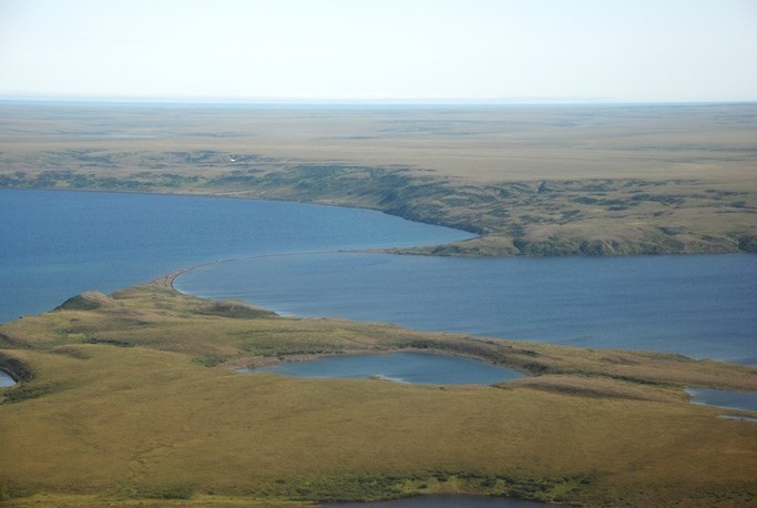Aerial view of the conjoined Devil Mountain Maar Lakes in the summertime