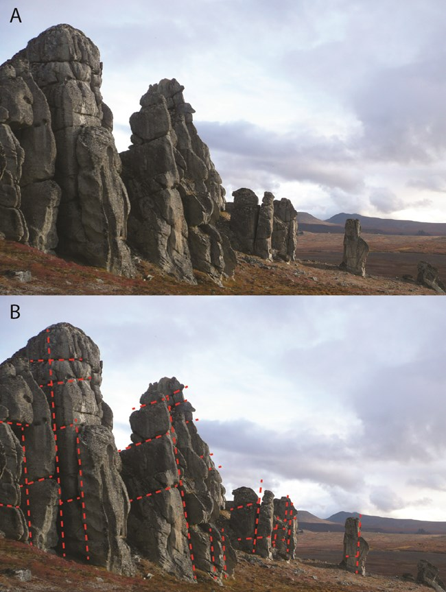 Granite tors around Serpentine Hot Springs. Below is the same photograph, with red dotted lines drawn to highlight joints in the granite, which are controlling the morphology of the tors.