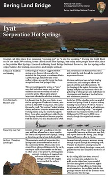 Front page of the Serpentine brochure, with text, an image of the hot springs at sunset, and the granite tors.