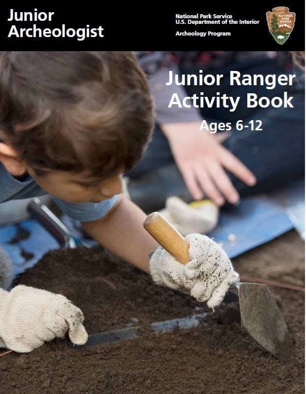 Junior Ranger Archeology Book showing a child with a trowel digging.
