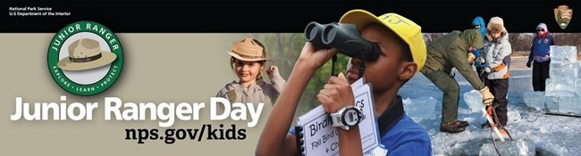 Junior Ranger Day logo, nps.gov/kids, girl wearing a ranger hat, boy looking through binoculars, group of kids and adults with ice tongs and ice block