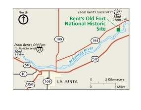 Map of area near Bent's Old Fort National Historic Site