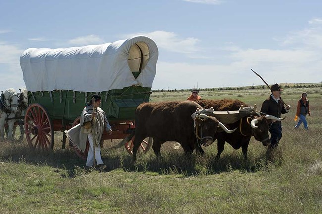Wagon being demonstrated on the Santa Fe Trail