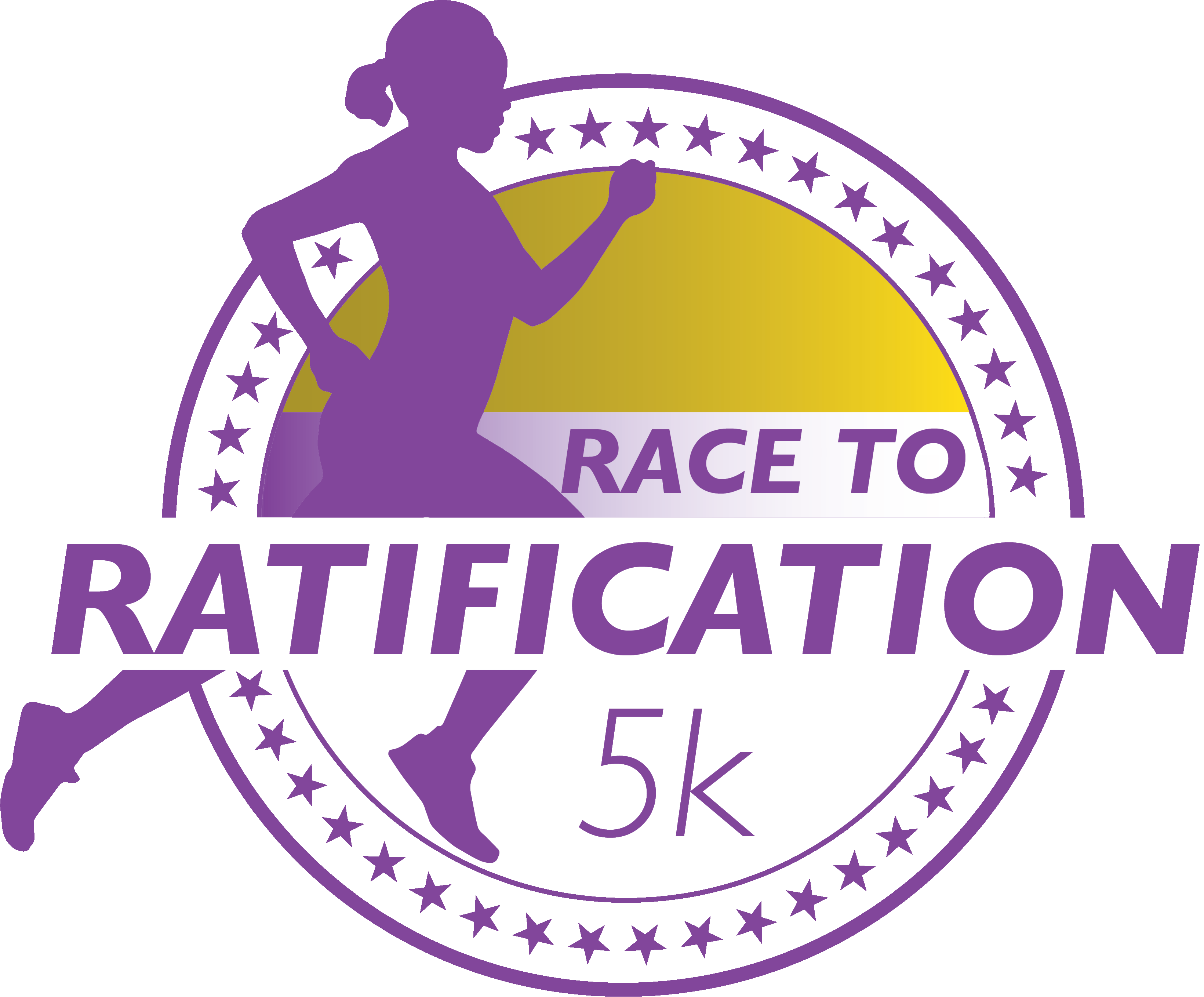 Race to Ratification Logo: the silhouette of a woman running with a circle of stars behind her. The words Race to Ratification appear in the circle.