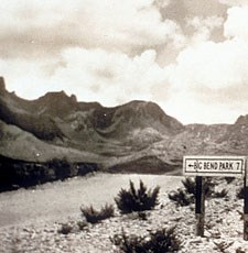 1930s road sign to the Big Bend park