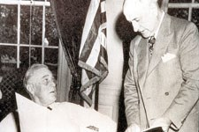 President Roosevelt receives the deed for the Big Bend from Amon Carter;  June 6, 1944
