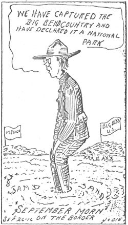 One of a series of Jodie Harris cartoons promoting the Big Bend as a potential national park, 1916