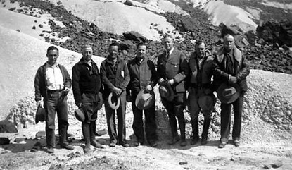 members of the International Park Commission pose in volcanic badlands near Castolon, 1936.