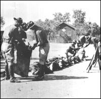 Cavalry troops loading equipment