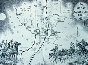 Stylized map of the Comanche Trail