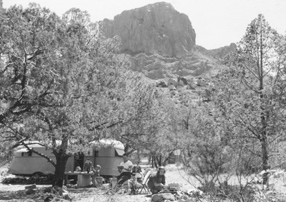 The Koch family camping in the Chisos Basin, 1945
