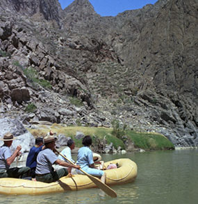 Lady Bird Johnson and group rafting down the Rio Grande