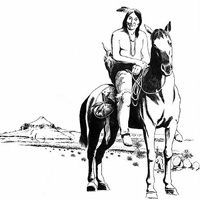 A Lipan Apache warrior on horseback.