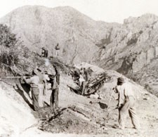 CCC crew constructing the road into the Chisos Basin