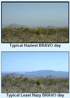 two photos comparing haziness levels in the air at Big Bend National Park