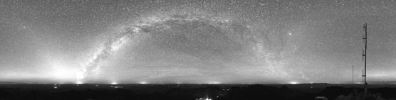 Night sky panorama from the summit of Emory Peak