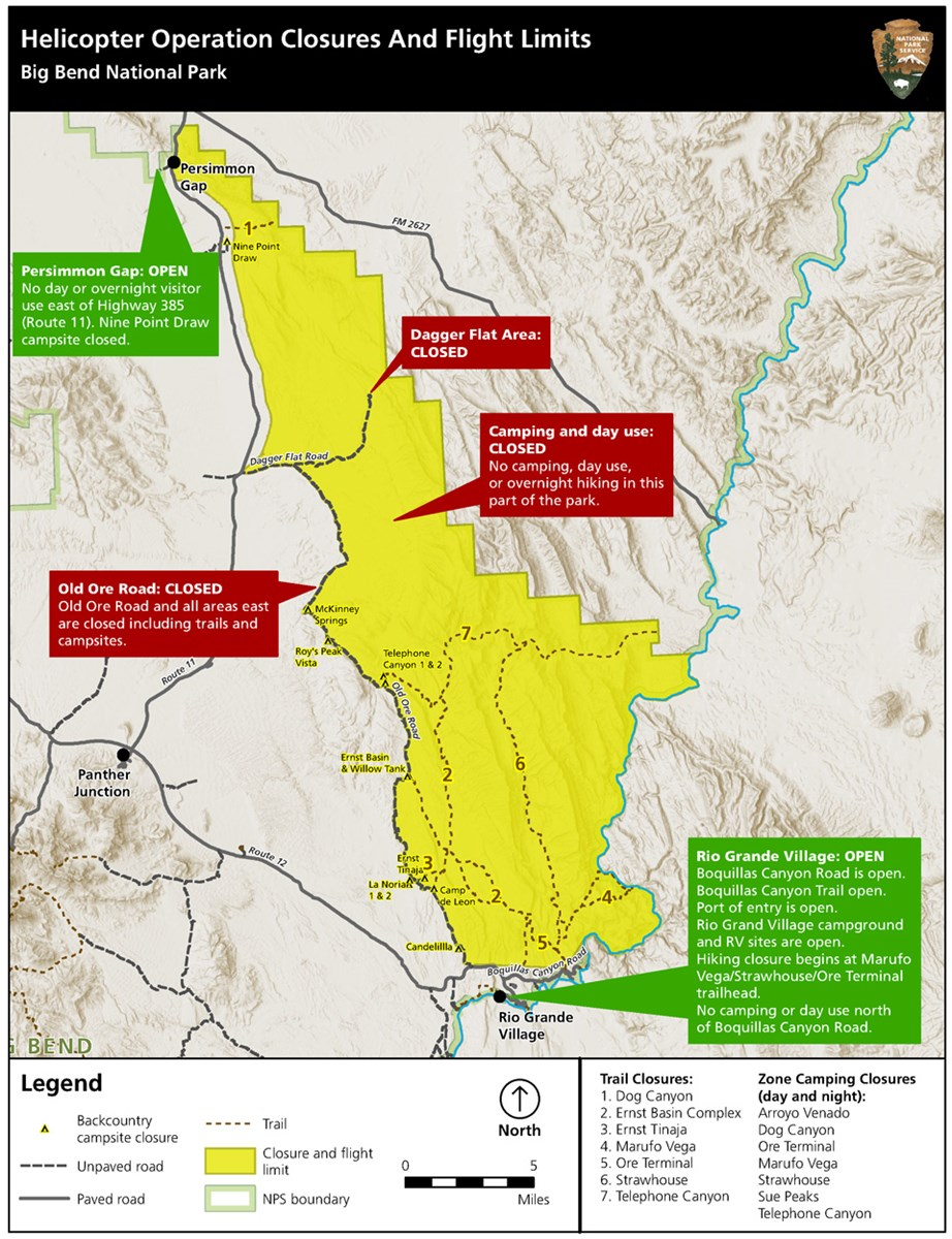 Map of temporary closures for Aoudad control