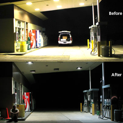 Efficient lighting at the gas station