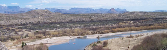 Kayakers at the mouth of Santa Elena Canyon