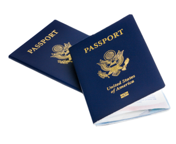 A photo of two passports