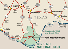Directions Transportation Big Bend National Park US - Big bend national park map us