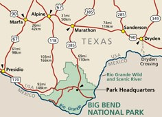 Area map showing highway routes to and from Big Bend National Park.