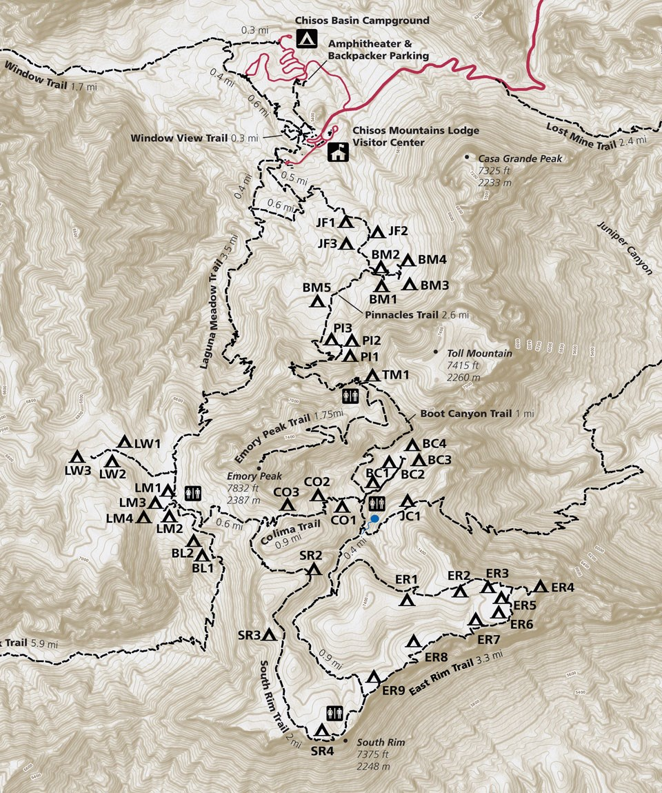 Chisos Mountain Trails Map